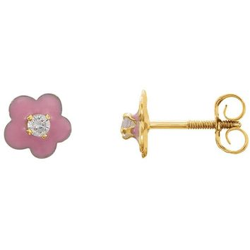 14K Yellow Gold Youth Pink Enamel Flower & Cubic Zirconia Earrings