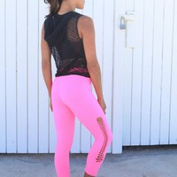 Equilibrium Activewear Black Mesh Yoga Top