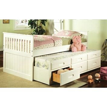 Mission style white finish wood twin size storage trundle bed