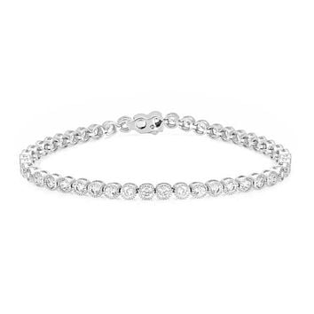 Moreen Bezel CZ Silver Tennis Bracelet- 7.25in | 5ct