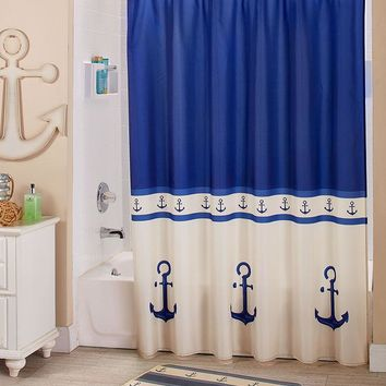 Nautical Anchor Themed Bathroom Blue & White Coastal Maritime Decor