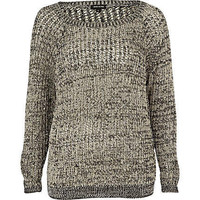 Black sequin grid stitch jumper