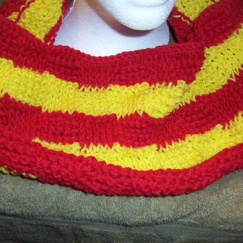 Hand Crocheted Tunisian Stitch Basket weave Red and Yellow Striped Cowl Infinity Scarf