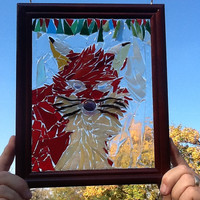 Stained Glass Red Fox Window Art Sun catcher, Wildlife, Outdoors, Fox hunter, Fox Collector, Unique Gift