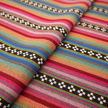 Aztec Fabric, Peruvian Fabric, Woven, Pink Orange Pampa Stripes, 1 Yard