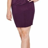 Plus Size South Beach Curvy Purple Blouson Midi Plus Dress