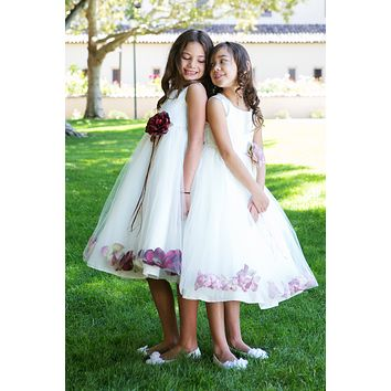 Satin & Tulle Flower Girl Dress with Floating Flower Petals in 23 Colors (Girls 2T - Size 14)
