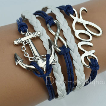 Infinity Anchor LOVE Charm Bracelet, Navy wax Cords,White Braided leather cords CB-7-1