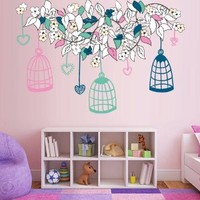 Full Color Wall Decal Mural Sticker Decor Art Flower Branch Birds Birbcage Cell Cage Nursery Kids Children Family Bedroom Dorm Baby Mcol3