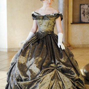 Custom Victorian Bridal Civil War Steampunk Ball Gown Dress in embroidered taffeta