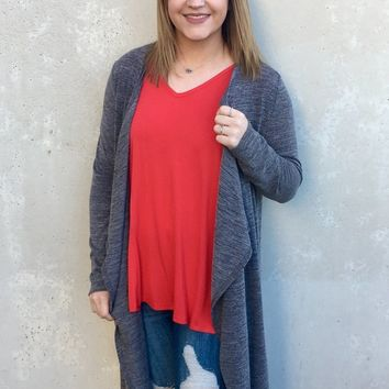 In My Place - Long Sleeve Duster Cardigan in Grey