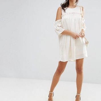 Fashion Union Cold Shoulder Dress With Frill at asos.com