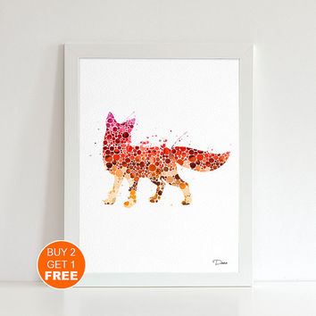 Fox watercolor print 2, animal art, fox art, Fox illustration Nursery art, home decor, wall art, animal print, animal art