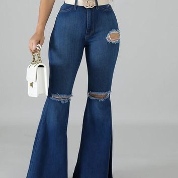 Vintage High Waisted Bell Bottom Pant - Curvy