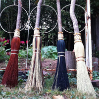 Wedding Besom / Handfasting Broom - Your choice of color - Natural, Black, Rust or Mix