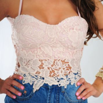 Lace In The Sun Crop Top: Light Pink | Hope's