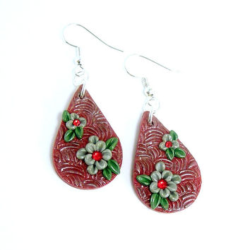 Polymer Clay Jewelry Earrings - Red Dangle 3D Floral Earrings - Silver Flower Earrings - Artisan Earrings - Boho Rustic Earrings - Handmade