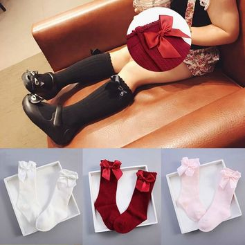 Warm Winter Girls Socks Long Knee High Socks With Bows Princess Kids Socks For Girl Children Christmas Socks Calcetines Meias