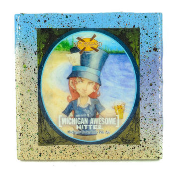 Handmade Coaster New Holland - Michigan Awesome Hatter craft beer label - Handmade Recycled Tile Coaster