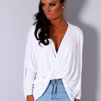 Whirlwind White Wrap Over Plunge Top | Pink Boutique