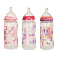 NUK Trendline Baby Talk Orthodontic Bottles 3pk 10oz. (Girls)