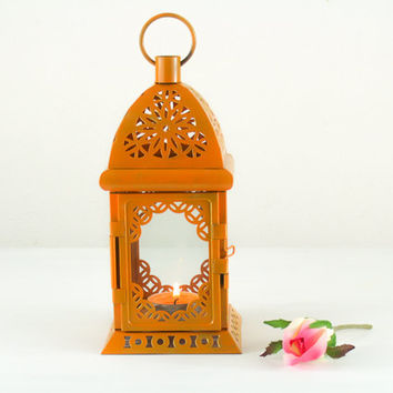 Rustic Earthtone Ochre, Fall, Thanksgiving, Hostess Gift, Painted Scheherazade Lantern, Filigree Pumpkin Metal Candle Holder, Centerpiece