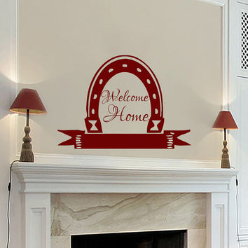 Wall Decals Welcome Home Quote Decal Vinyl Sticker Horseshoe  Decal Home Decor Bedroom Dorm Living Room MN 263