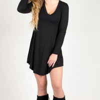 The Striking Beauty Long Sleeve Dress (Black)