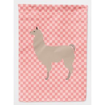 Llama Pink Check Flag Canvas House Size BB7916CHF