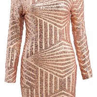 Gold Open Back Sequence Dress