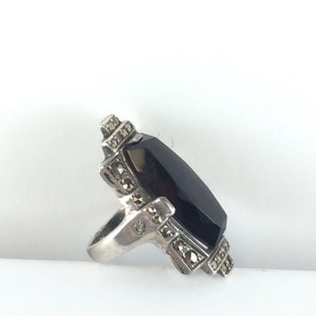 Vintage Art Deco Onyx Ring Antique Sterling Silver Black Faceted Natural Onyx Ring Marcasite 20s 30s Estate Jewelry Gift for Her Size 5