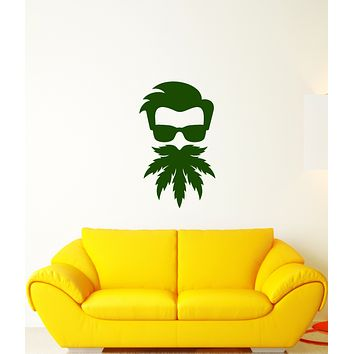 Vinyl Wall Decal Funny Hipster Beard Hemp In Sunglasses Stickers (3983ig)