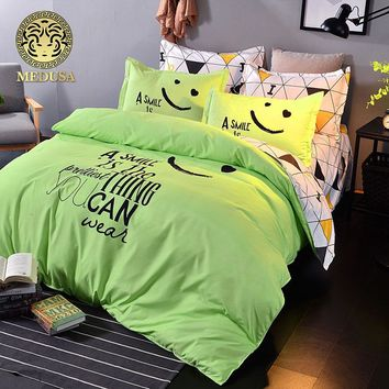 Medusa things you can smile reversible plaid bedding set duvet cover sheet pillow case king queen double full single XL bed