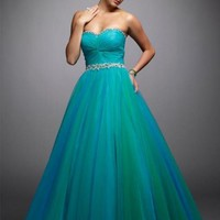Sweetheart Pleated Beading Green Tulle Ball Gown Prom Dress at Promotion Prices
