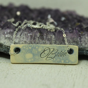 Custom Brides Bar necklace Pottery pendant Bubble glaze
