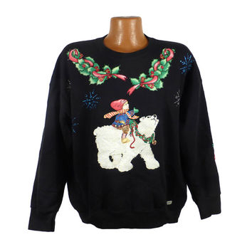 Ugly Christmas Sweater Vintage Sweatshirt Ho Made Puffy Paint Christmas Tacky Holiday 24W