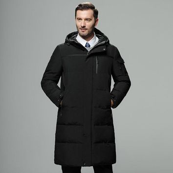Men Duck Down Jacket Long Hooded Coat Puffer Parka Thicken Winter Ski Warm