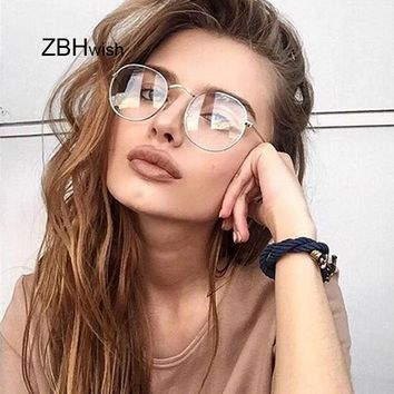 Fashion Retro Women Glasses Frame Men Eyeglasses Frame Vintage Round Clear Lens Transparent Sun Glasses Frame Women