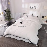 4/6-Pieces 100% Cotton Luxury Bedding Set Embroidery Bed Set King Queen full twin Bed Linens Tassels Duvet Cover Bed Skirt
