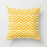 Ikat Chevron: Yellow Throw Pillow by Eileen Paulino