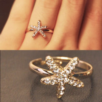Starfish Rhinestone Adjustable Ring | LilyFair Jewelry