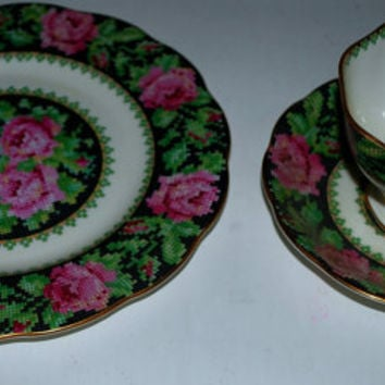 sale  Needlepoint pattern   Royal Albert  bone china 3 piece set