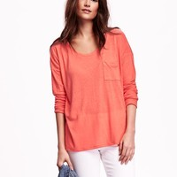 3/4-Sleeve Linen-Blend Boyfriend Tee for Women