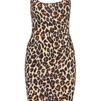 Petite Nadia Leopard Strappy Midi Dress | Boohoo