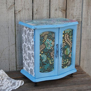 Jewelry Armoire, Shabby Chic, Jewelry Box, Bue, French Provincial, Decoupage, Upcycled, Distressed