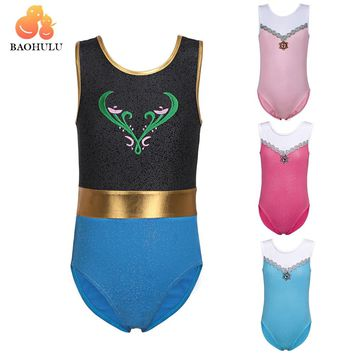 BAOHULU Girls Gymnastic Leotards Kids Sleeveless 3-12Y Dance Leotards for Kid Girls Training Biketard Dancewear Practice Costume