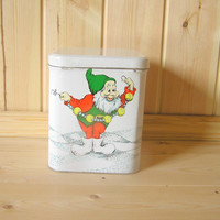 Christmas cookie box dwarf gingerbread container large tin box from Soviet era 80s Estonia