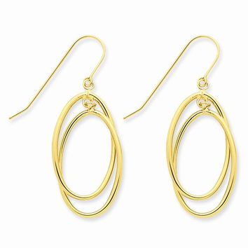 14k Yellow Gold Polished Dangle Wire Earrings