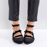 New Look Velvet Multi Strap Pointed Flat Shoe at asos.com