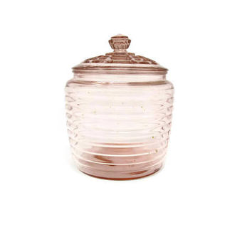 Pink Depression Glass Cookie Jar - Pink Glass Biscuit Jar - Anchor Hocking Manhattan - Vanity Jar - Lidded Jar
